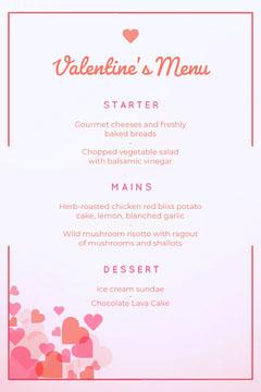 floating hearts valentines menu Dinner Menu