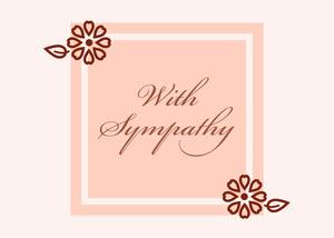 Beige Elegant Floral Calligraphy Sympathy Card Cartão de pêsames