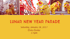 Yellow and Red Lunar New Year Parade Facebook Event Cover Carnival