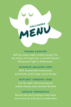 Green and White Ghost Trick Or Treat Halloween Party Menu Halloween Party Menu