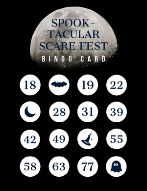 Black and White Moon Halloween Costume Party Bingo Card Carta da bingo
