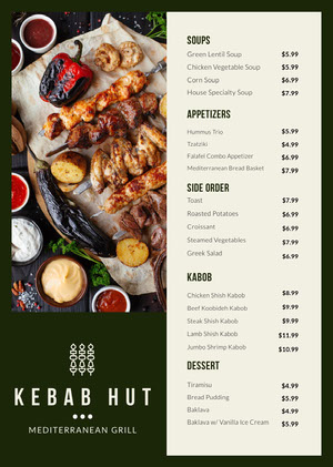 Barbecue Restaurant Menu with Photo of Shish Kebabs Menú