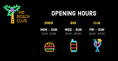 Black And Yellow Diner Opening Hours Beach Club Facebook Post Burger
