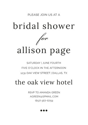 for  Bridal Shower Invitation