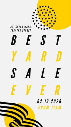 Yellow Geometric Typography Yard Sale Instagram Story Sale Flyer
