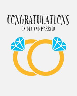 Diamond Ring Illustration Wedding Congratulations Instagram Portrait Parabenização de casamento