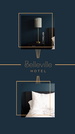 Navy and Gold Minimal Art Deco Belleville Hotel  Instagram story  Hotels