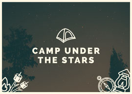 Night Sky Illustrated Camping Postcard Vykort