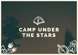 Night Sky Illustrated Camping Postcard Rejsepostkort