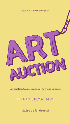 Yellow & Purple Art Auction Instagram Story Campaign
