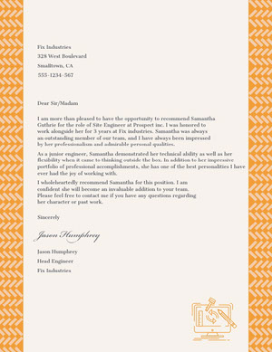 White and Orange Recommendation Letter Carta de recomendación
