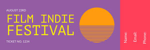 Violet and Orange Film Indie Festival Ticket Boleto de sorteo