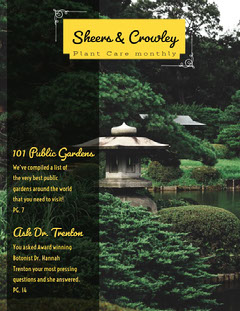 Green and Yellow Garden Plant Care Magazine Cover  Plants