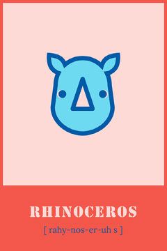 Red Rhinoceros Animal Flashcard  Kids