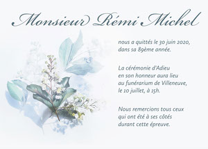 White And Green Leaves And Flowers Death Announcement Card Carte de condoléances