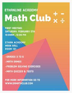 Multicolored Geometric Math School Club Flyer  Math