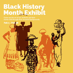 Yellow, Brown and White Black History Month Exhibit Ad Instagram Post Museum