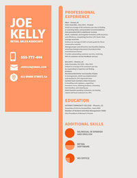 Orange and Grey Retail Sales Associate Resume Data Visualization