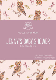 Violet and Brown Owls Baby Shower Invitation Baby Shower (Girl)