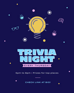 Colorful, Navy and Yellow, Online Trivia Night Event, Instagram Portrait Game Night Flyer