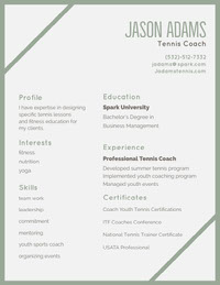Green and Grey Jason Adams Resume CV