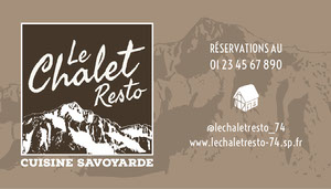 Brown Snowy Mountain Restaurant Business Card Carte de visite