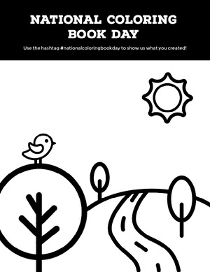 Black and White Coloring Book Day Ad Flyer Desenhos para colorir