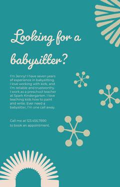 Blue and Beige Babysitter Flyer Preschool Flyer
