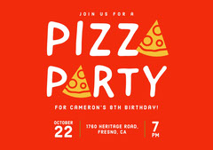 Red and White Birthday Party Invitation Pizza
