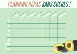 Green Avocados Sugar Free Mal Planner A4 Planificateur