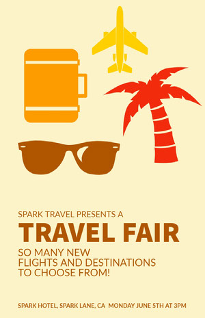Pink, Red, Yellow and Brown, Travel Fair Ad Poster Conference Flyer