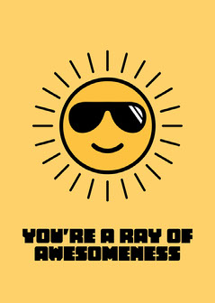 Yellow Sun Illustration You're Awesome Card Sun