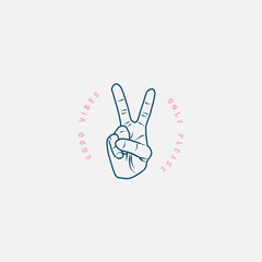 Grey Blue Pink Peace Out Good Vibes Instagram Square  Positive Thought