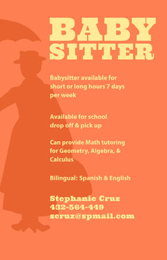 Orange and Yellow Illustrated Babysitting and Tutoring Service Flyer Tutor Flyer