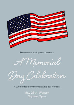 Blue Memorial Day Flyer with American Flag Memorial Day Flyer