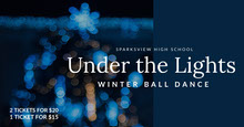 Blue and White Winter Ball Dance Ad Facebook Banner Portada de Facebook