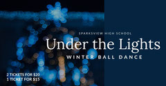 Blue and White Winter Ball Dance Ad Facebook Banner Holiday Party Flyer
