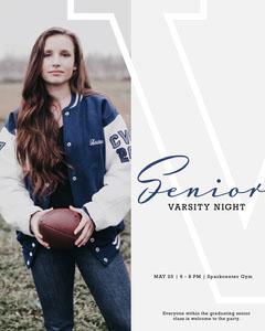 Blue and White, Bright Toned Senior Student Night Ad Instagram Portrait  School Dance Flyer