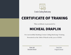 Green and Brown Coding Training Boot Camp Completion Certificate Camping