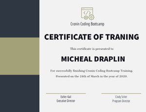 CERTIFICATE OF TRANING 학위 증명서