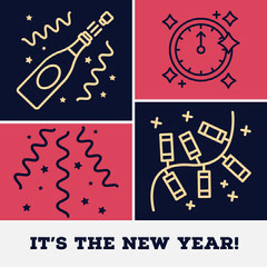 Pink & Navy New Year Instagram Square Countdown