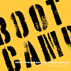 Yellow, Black and White Boot Camp Ad Instagram Post Camping