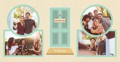 Green Door Housewarming Party Photo Collage Instagram Landscape  Welcome Poster