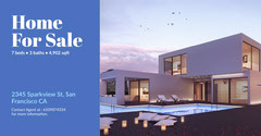 Blue and Cold Toned Home for Sale Ad Facebook Banner House For Sale Flyer