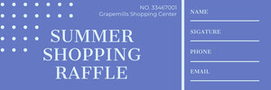 Blue Shopping Mall Raffle Ticket Boleto de sorteo
