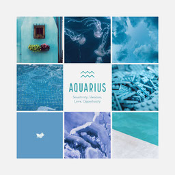 Shades of Blue, Zodiac Aquarius, Instagram Square