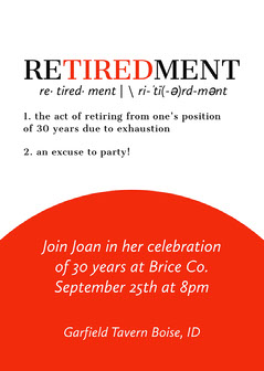 Red Literary Themed Retirement Party Invitation Retirement Party Invitation
