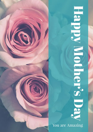 Blue WIth Pink Roses Happy Mother's Day Card Biglietto di auguri per la Festa della mamma