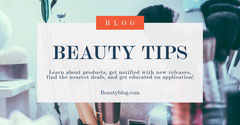 Beauty Tips Blog Facebook Post Graphic with Make Up Products Cosmetic