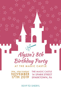 Pink and White Girl Birthday Party Invitation Christmas Invitation